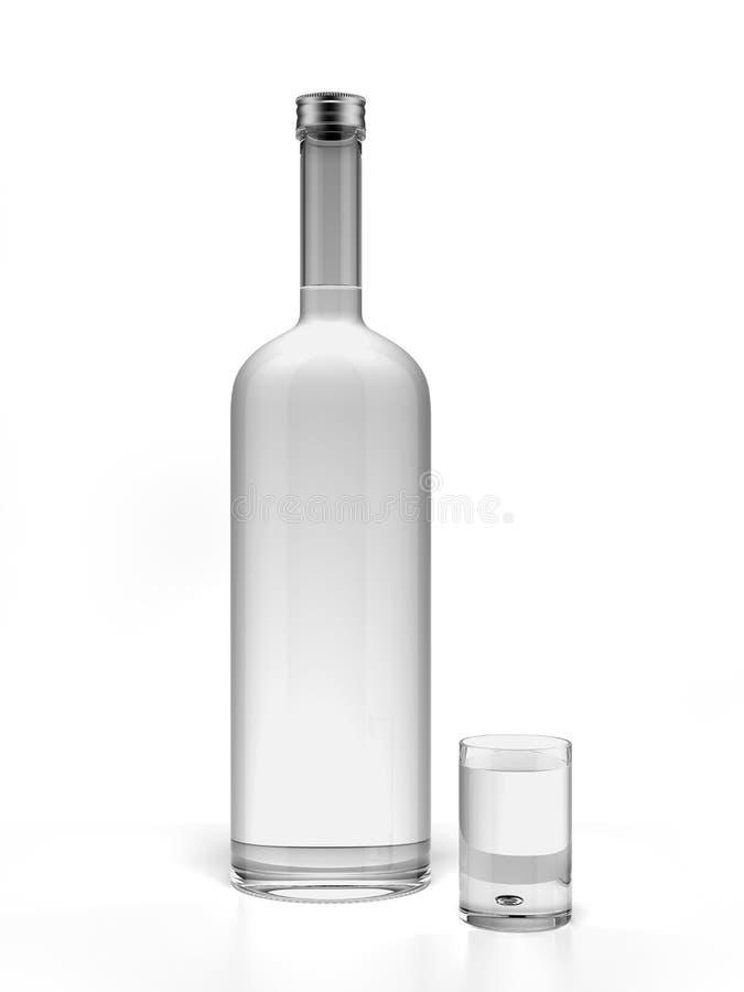 Bottiglia di vodka e del vetro di colpo vuoto illustrazione di stock