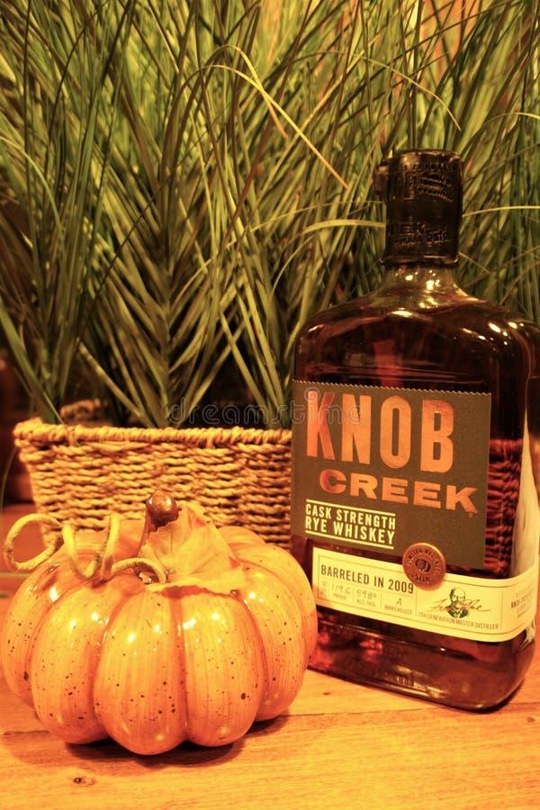 Bottiglia di whiskey della segale dell'insenatura della manopola e pumpin arancio fotografia stock libera da diritti