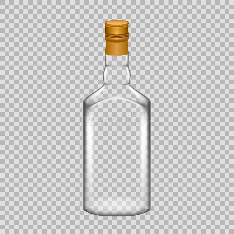 Bottiglia di whiskey di vetro vuota del modello realistico bella con il coperchio a vite illustrazione vettoriale