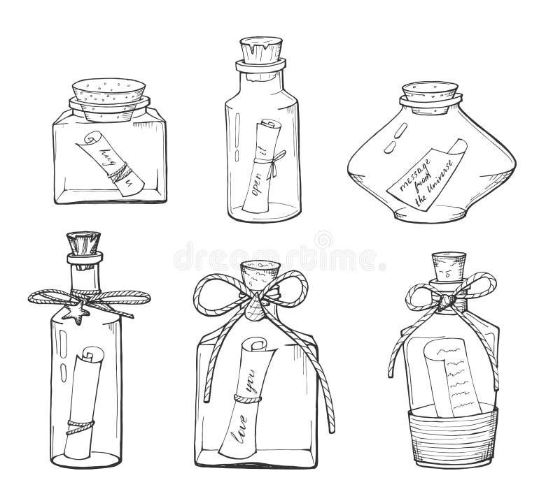 Bottiglia differente con una nota illustrazione di stock