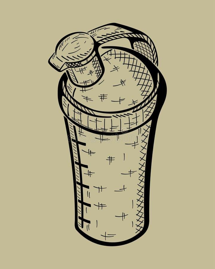 Bottiglia disegnata a mano per nutrizione di sport Vettore fotografia stock libera da diritti