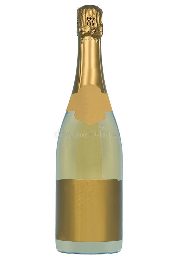 Bottiglia dorata di Champagne fotografie stock