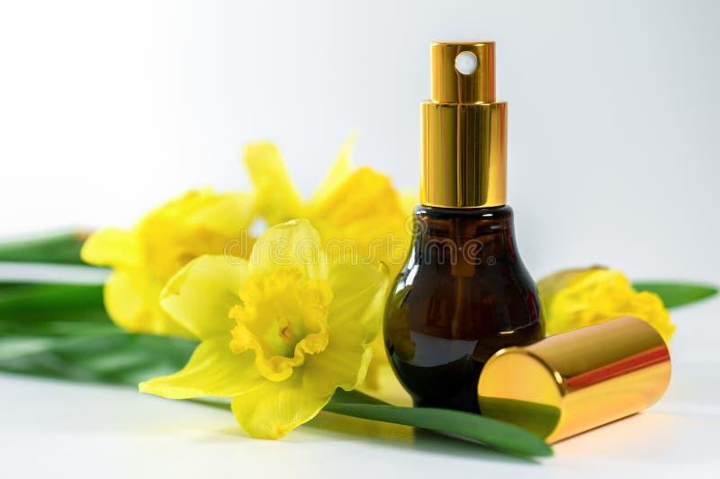 bottiglia e fiori del profumo del narciso su bianco immagini stock libere da diritti