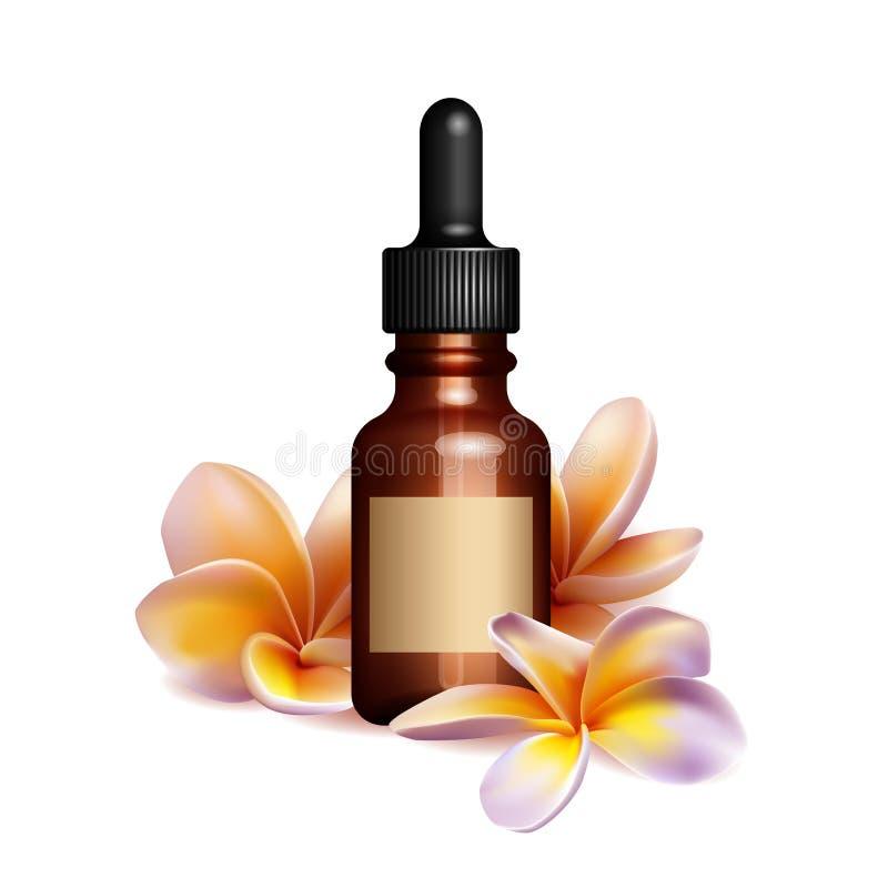 Bottiglia e fiori di olio essenziale realistica illustrazione di stock