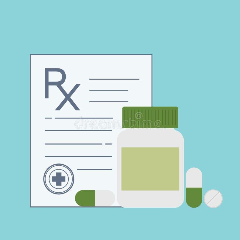 Bottiglia e pillole della medicina Le droghe, compresse, incapsula le vitamine Contenitore medico delle capsule Segno medico di R royalty illustrazione gratis