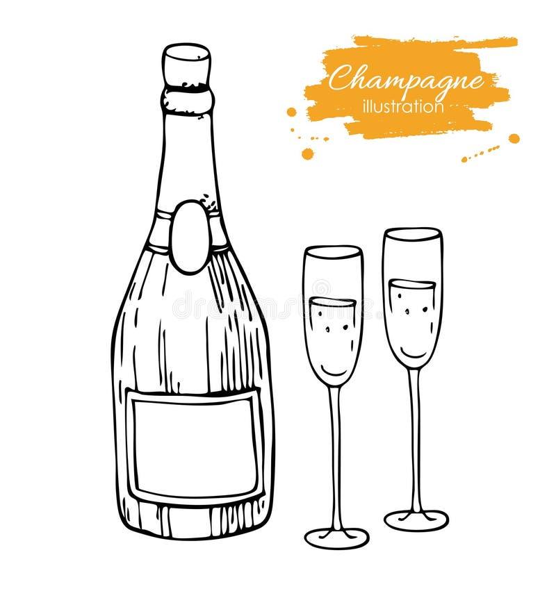 Bottiglia e vetro del champagne di vettore Illustrazione disegnata a mano di schizzo di Champagne illustrazione di stock