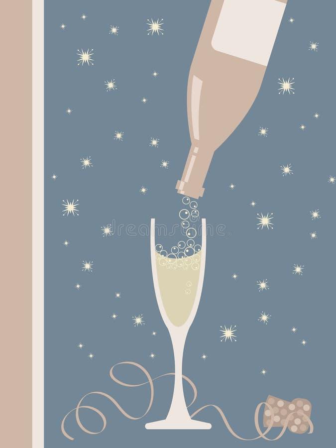 Bottiglia e vetro di Champagne illustrazione di stock