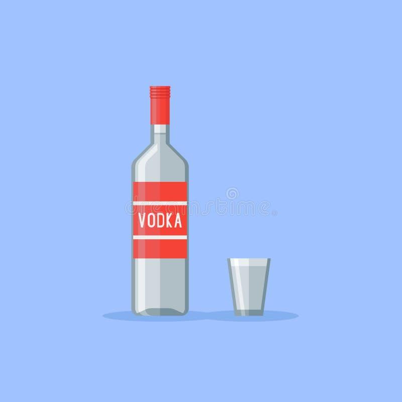 Bottiglia e vetro di colpo classici di vodka Illustrazione piana di vettore di stile illustrazione vettoriale