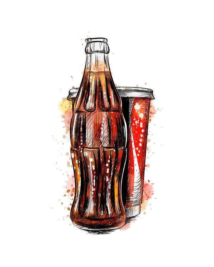 Bottiglia e vetro di soda di vetro illustrazione di stock