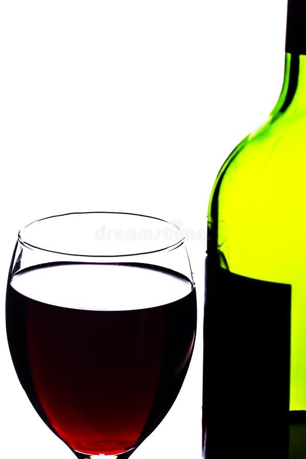 Bottiglia e vetro di vino fotografie stock