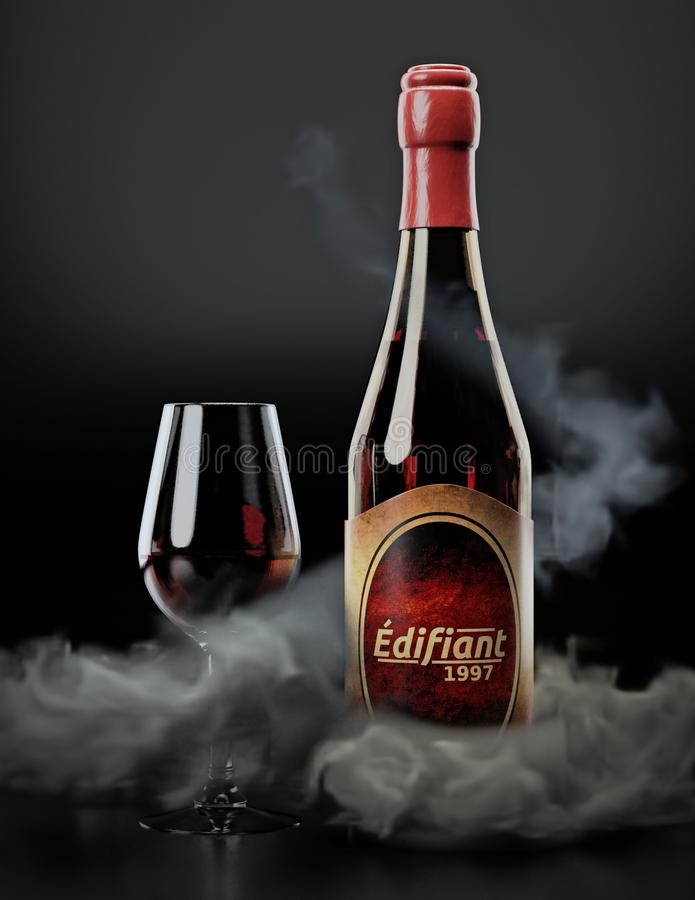 Bottiglia e vetro di vino resi con fumo simulato illustrazione vettoriale