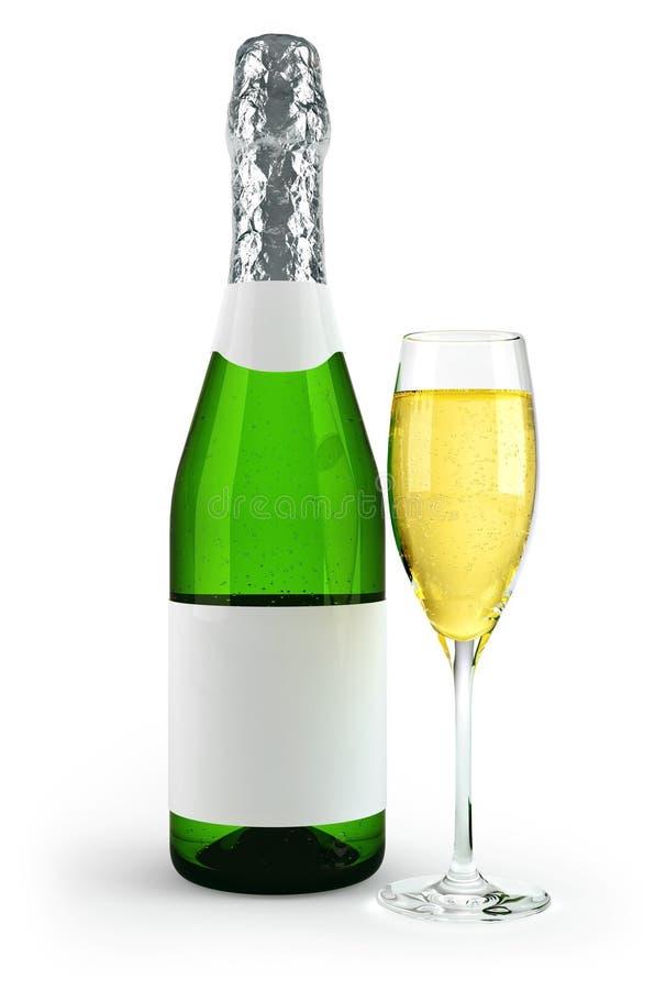 Bottiglia e vino di vetro pieno del calice illustrazione di stock