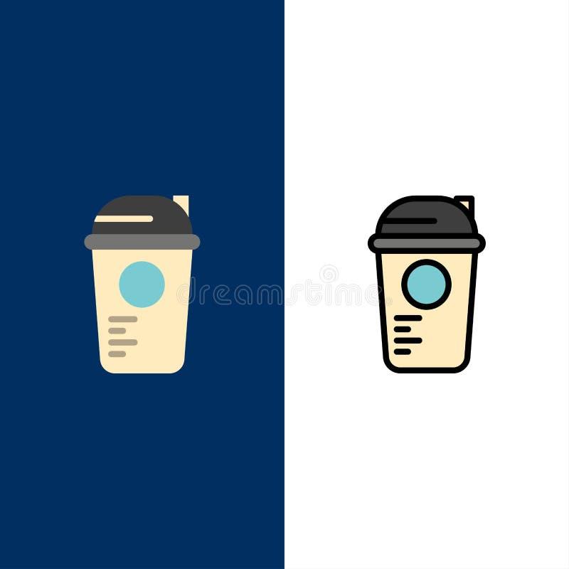 Bottiglia, gioco, ricreazione, sport, termo icone Il piano e la linea icona riempita hanno messo il fondo blu di vettore illustrazione di stock