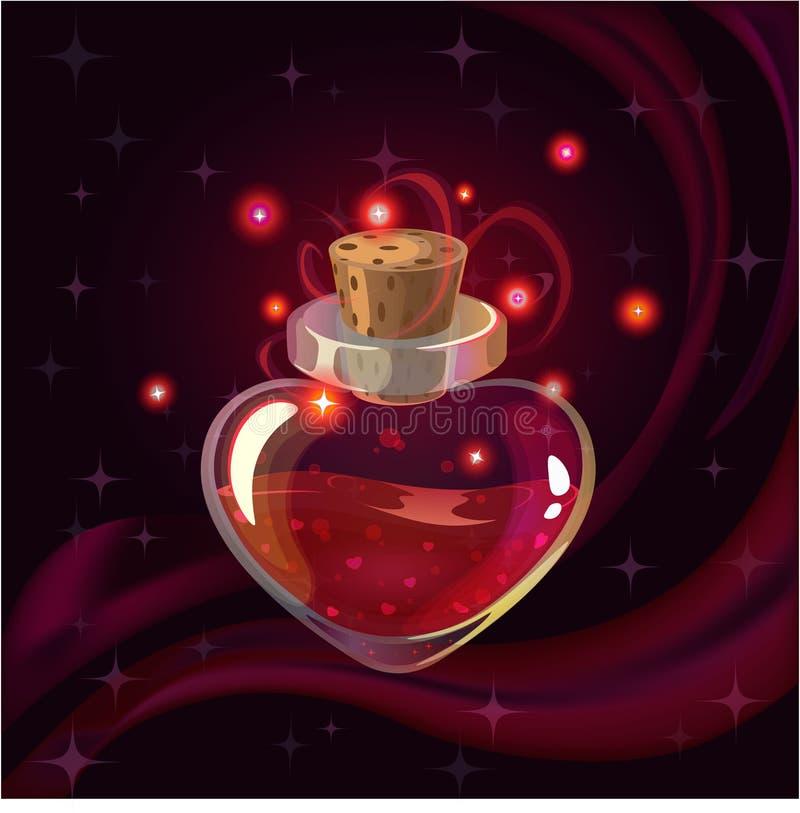 Bottiglia magica rossa illustrazione di stock