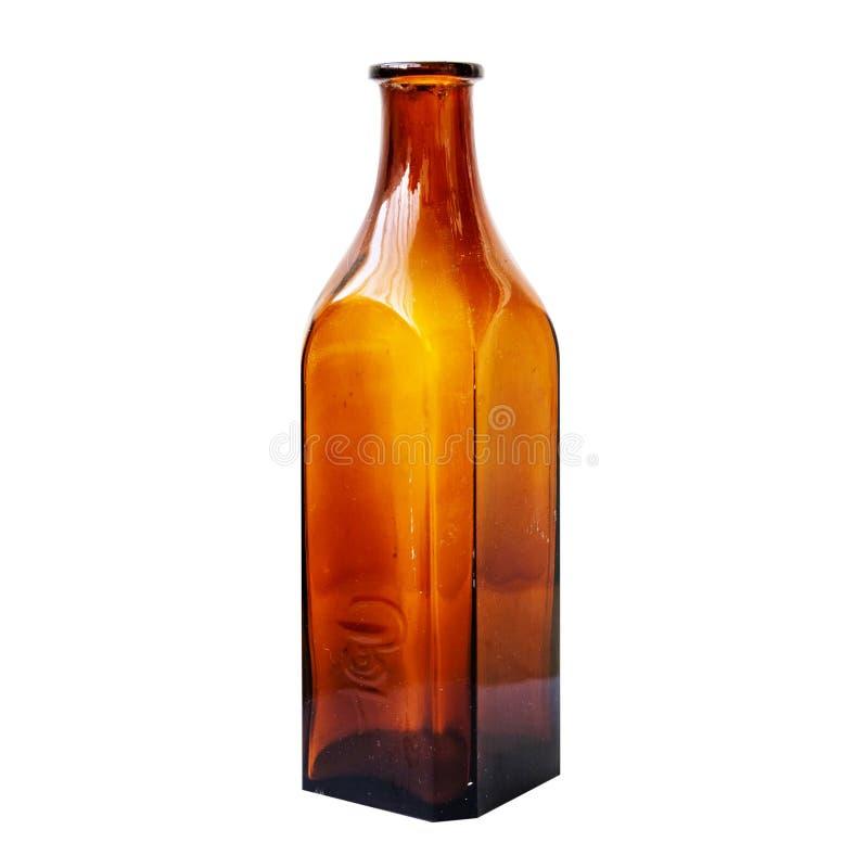 Bottiglia medica antica con il simbolo del serpente fotografie stock libere da diritti