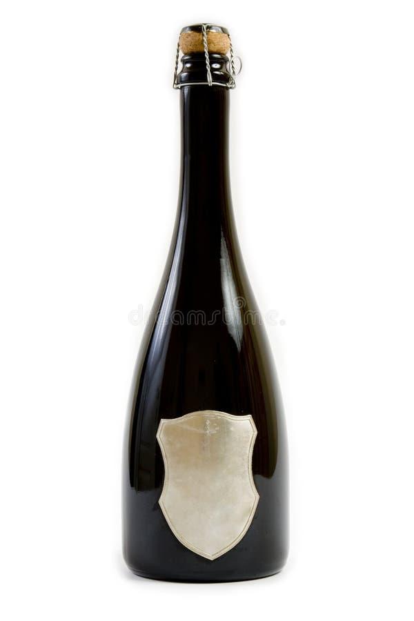 Bottiglia nera del champagne immagini stock