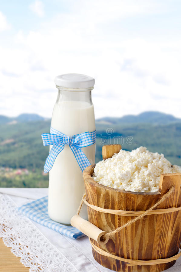 Bottiglia per il latte del ricotta e sul fondo della natura immagine stock