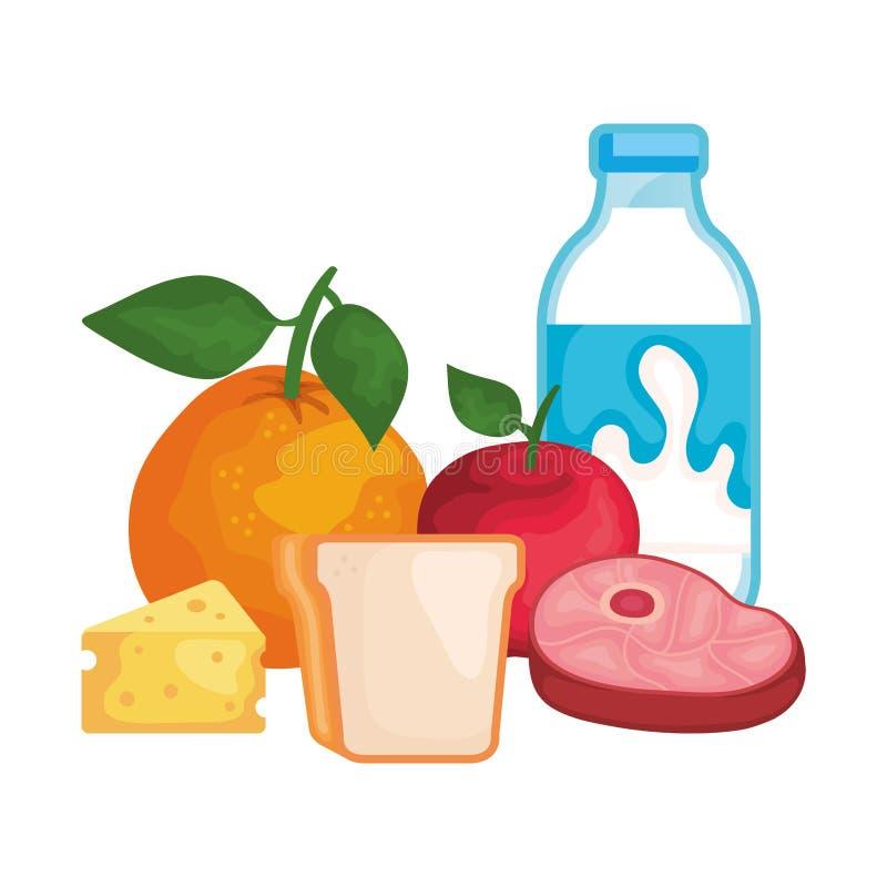 Bottiglia per il latte deliziosa con alimento sano royalty illustrazione gratis