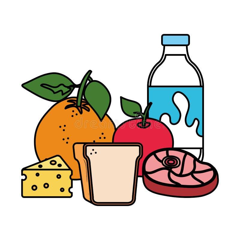 Bottiglia per il latte deliziosa con alimento sano illustrazione vettoriale