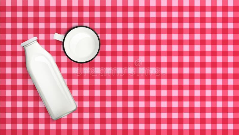 Bottiglia per il latte e tazza realistiche sulla Tabella di legno illustrazione vettoriale