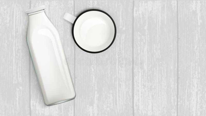 Bottiglia per il latte e tazza realistiche sulla Tabella di legno royalty illustrazione gratis
