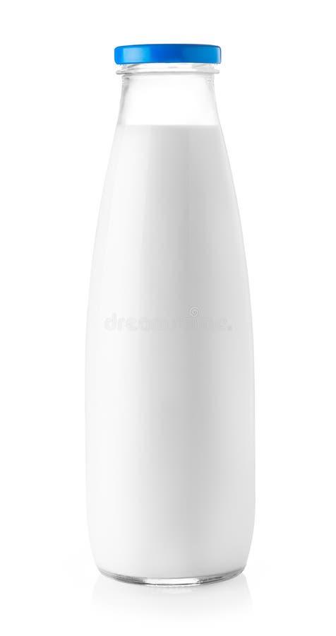 Bottiglia per il latte isolata su bianco immagine stock libera da diritti