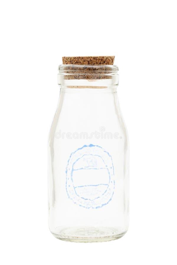 Bottiglia per il latte vuota fotografie stock