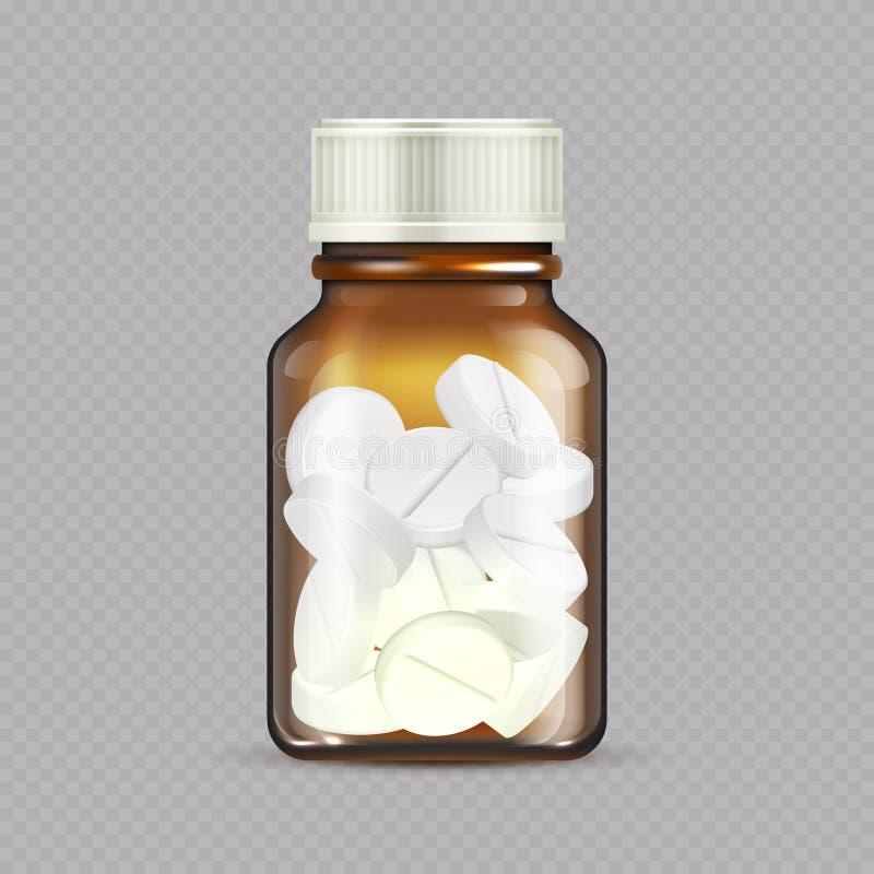 Bottiglia realistica delle droghe isolata su fondo trasparente Bottiglia di vetro con le pillole - illustrazione di Brown di vett illustrazione vettoriale
