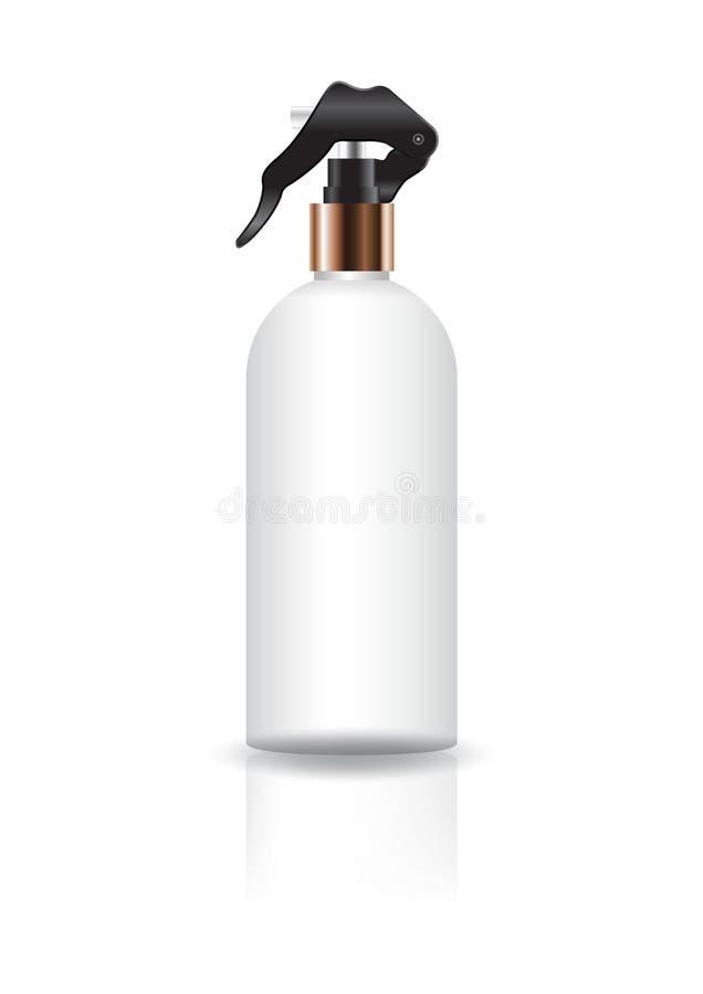 Bottiglia rotonda cosmetica bianca in bianco con la testa di spruzzo illustrazione vettoriale