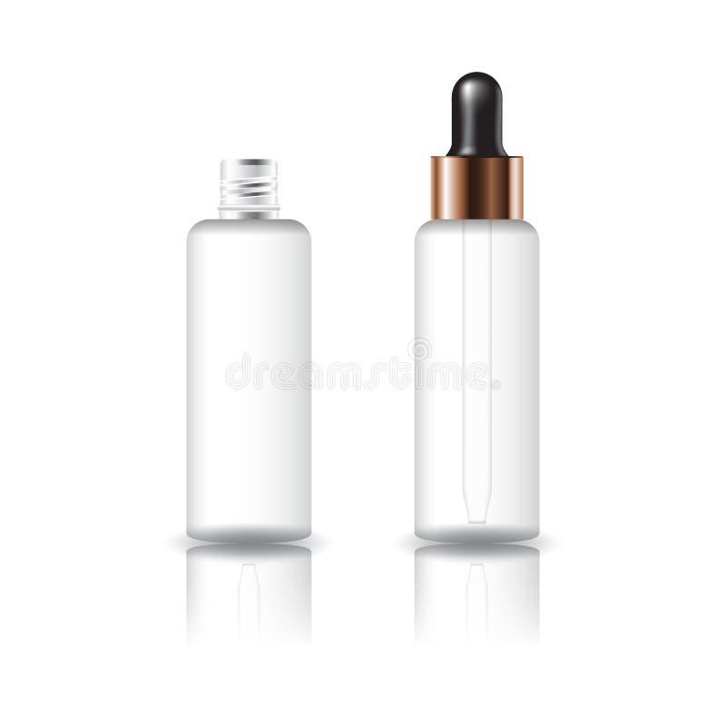 Bottiglia rotonda cosmetica chiara bianca in bianco con il coperchio del contagoccia per l'imballaggio del prodotto di bellezza illustrazione di stock