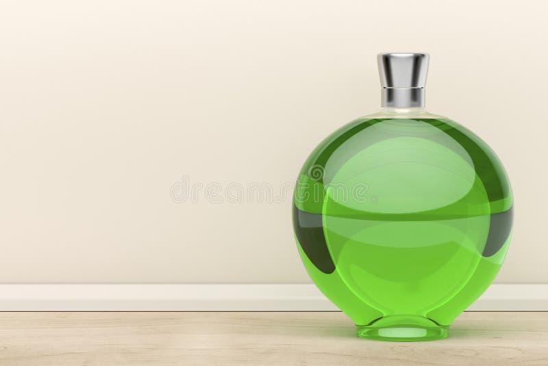 Bottiglia verde del liquore illustrazione di stock
