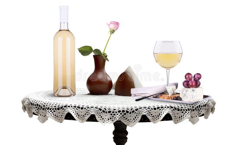 Bottiglia, vetro di vino con il fiore ed alimento su una tavola immagini stock