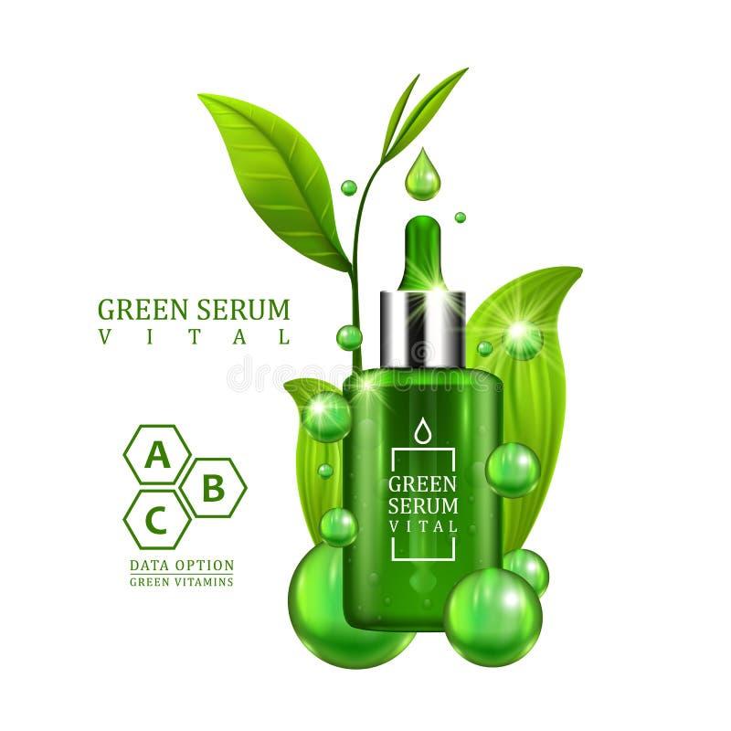Bottiglia vitale del contagoccia del siero decorata con le foglie verdi su fondo bianco Progettazione di trattamento di formula d royalty illustrazione gratis