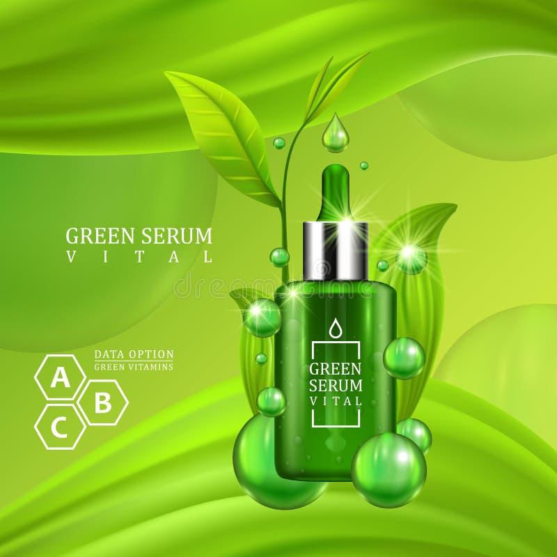Bottiglia vitale del contagoccia del siero decorata con le foglie verdi su fondo verde succoso Trattamento di formula della vitam illustrazione vettoriale
