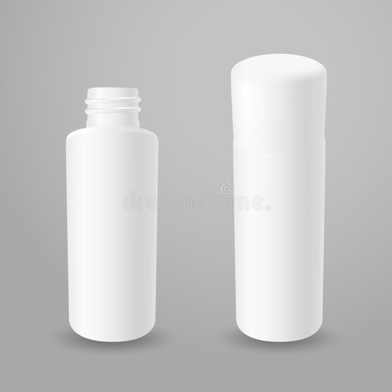Bottiglie aperte e chiuse della plastica bianca illustrazione di stock