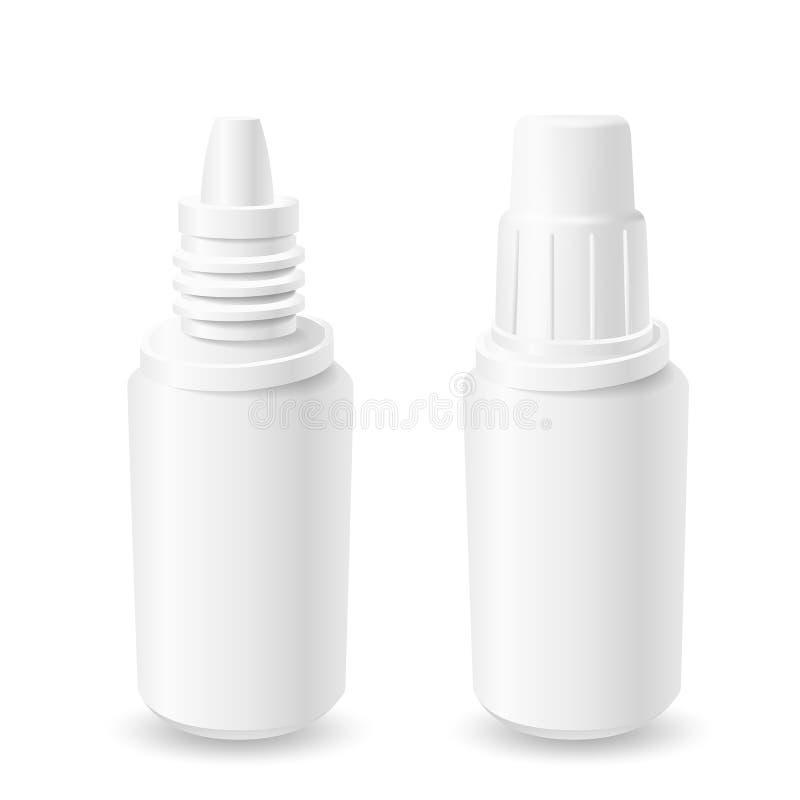 Bottiglie aperte e chiuse della plastica bianca royalty illustrazione gratis