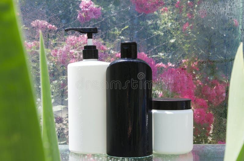Bottiglie in bianco e nero di sciampo, balsamo di capelli sullo scaffale bagnato di vetro Trattamenti naturali ed organici dei ca immagini stock