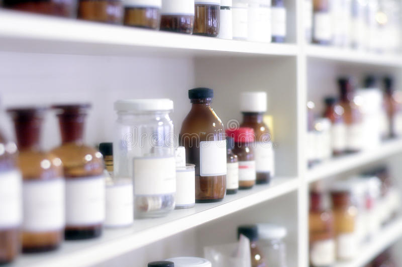 Bottiglie chimiche fotografie stock