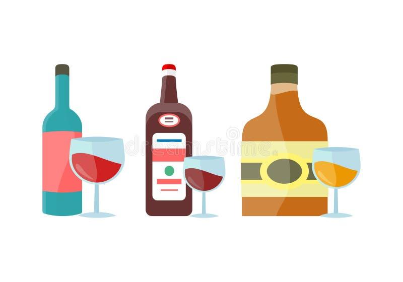 Bottiglie con il vettore dell'alcool nella progettazione piana di stile royalty illustrazione gratis