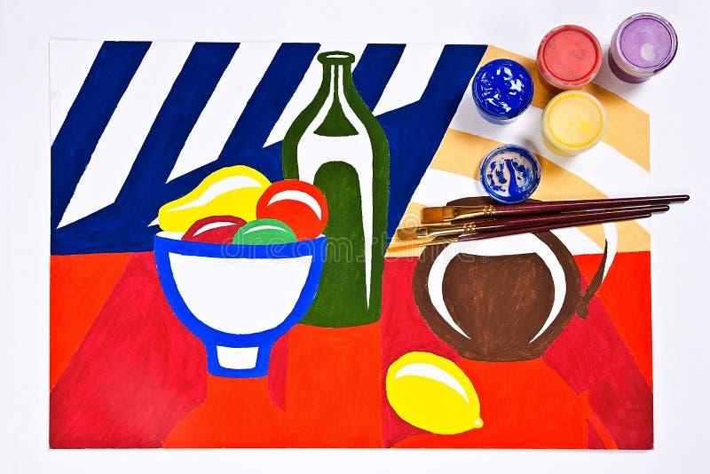 Bottiglie con le pitture di gouache e spazzole per le pitture artistiche royalty illustrazione gratis
