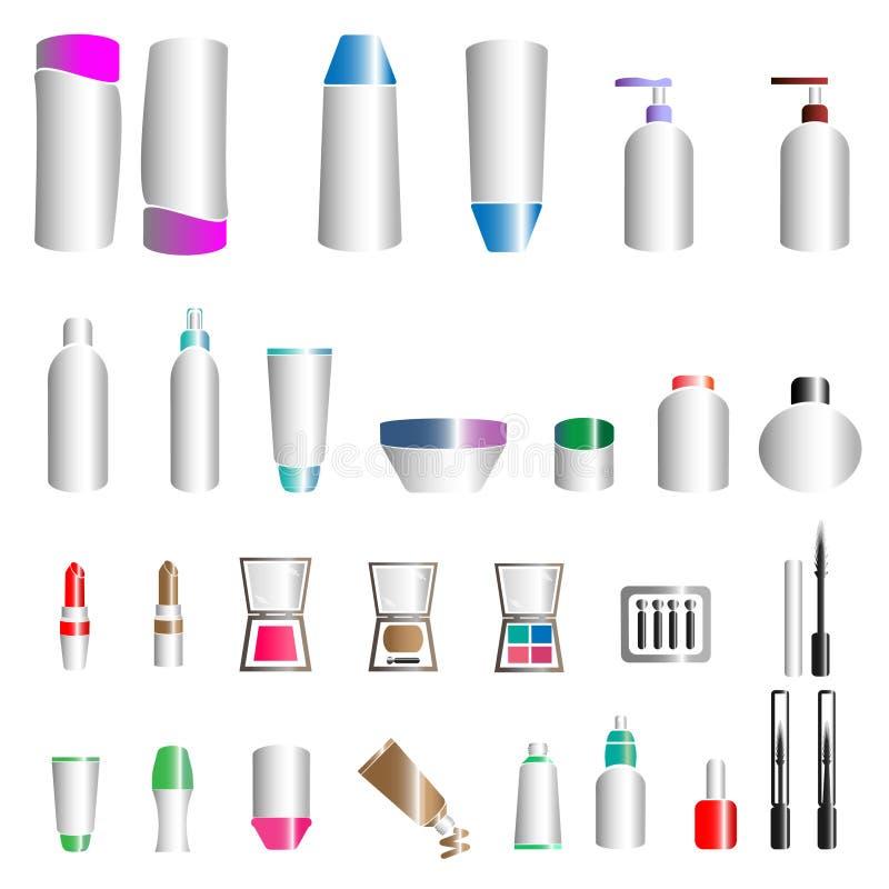 Bottiglie cosmetiche e trucco immagini stock