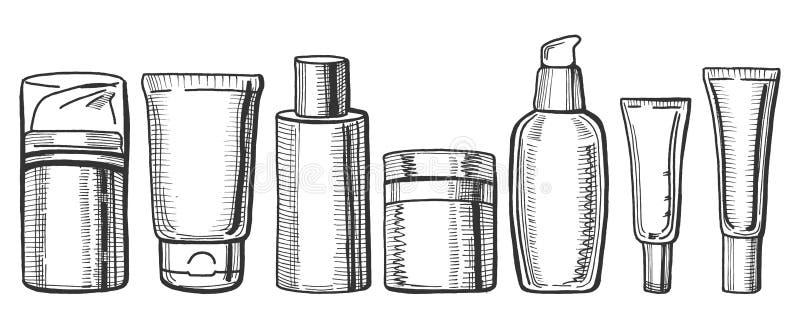 Bottiglie crema disegnate a mano illustrazione di stock