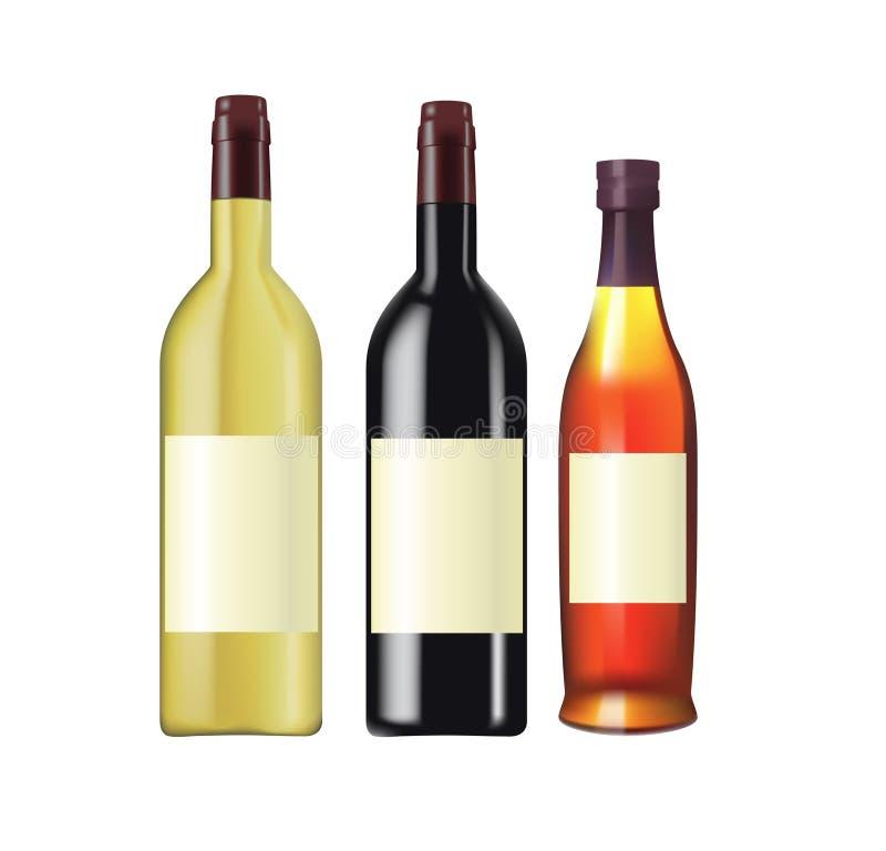 Bottiglie del cognac e del vino royalty illustrazione gratis
