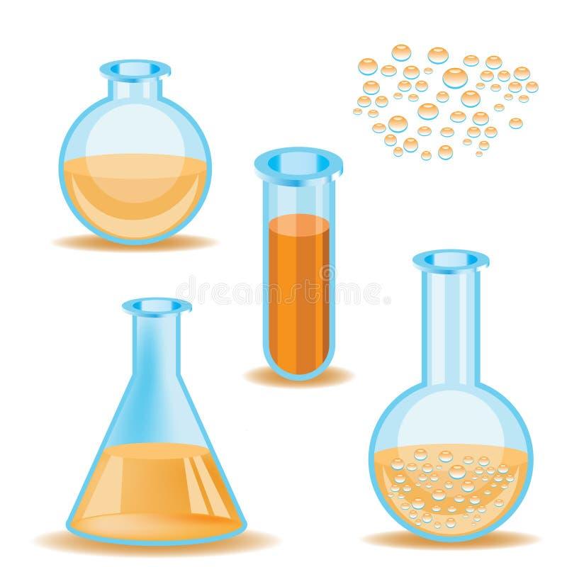 Bottiglie del laboratorio - vettore royalty illustrazione gratis