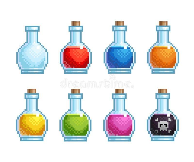 Bottiglie del pixel con differenti pozioni royalty illustrazione gratis