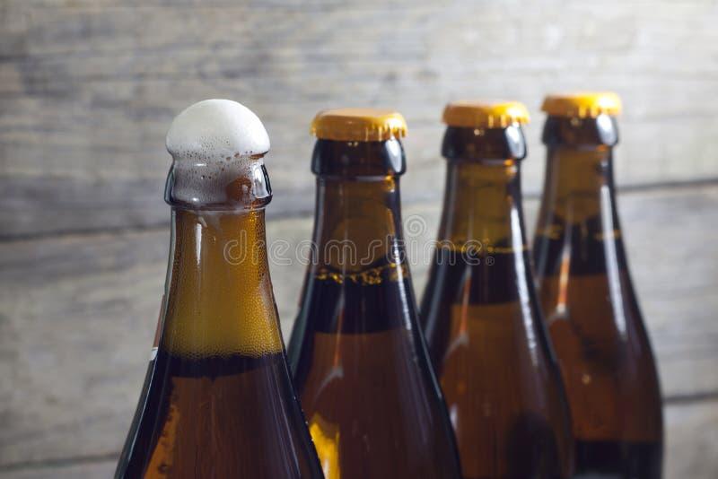 Bottiglie del primo piano della birra immagine stock