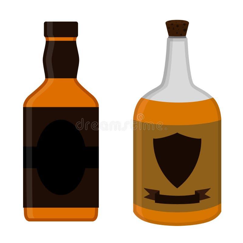 Bottiglie del rum messe Progettazione piana di stile della bevanda dell'alcool Illustr di vettore illustrazione di stock