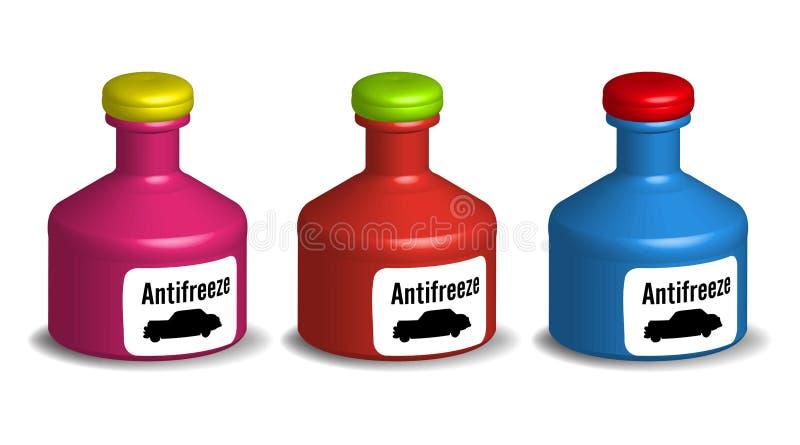 Bottiglie dell'antigelo illustrazione di stock