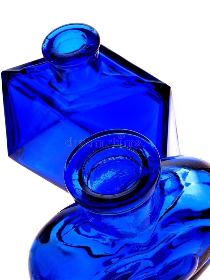 Bottiglie dell'azzurro di cobalto immagine stock libera da diritti