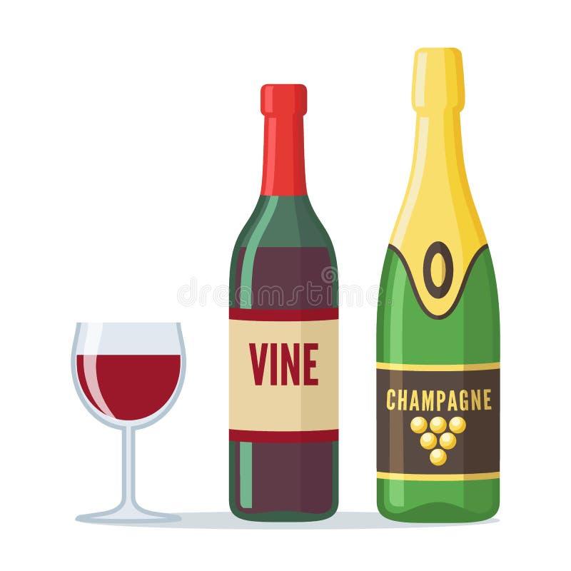 Bottiglie dell'icona del champagne e del vino rosso nello stile piano illustrazione di stock